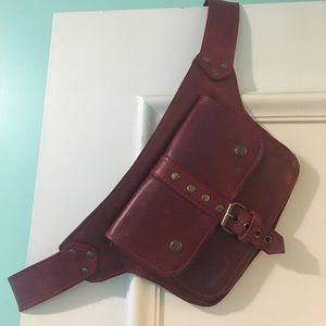Vintage Red Leather Belt Purse